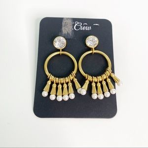 J. Crew Gold Dangle Earrings with Pearls